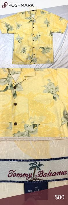 "TOMMY BAHAMA SILK FLORAL SHIRT SIZE MEDIUM GENTLY USED VERY GOOD CONDITION  TOMMY BAHAMA SILK MEN'S SHIRT  YELLOW WITH SAGE COLOR TROPICAL FLORAL PRINT  SHORT SLEEVE WITH ONE CHEST POCKET  NO STAINS OR RIPS!  44"" CHEST 20"" SHOULDER WIDTH 31"" LENGTH  DRY CLEAN ONLY  SMOKE-FREE-HOME Tommy Bahama Shirts Casual Button Down Shirts"