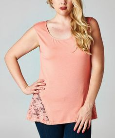 Loving this Coral Daisy Scoop Neck Top - Plus on #zulily! #zulilyfinds