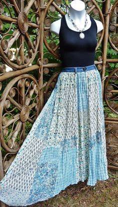 Broomstick skirt in blue gingham and floral by LamplightGifts, $16.75