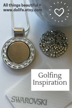 """Swarovski Golf Ball Marker Necklace - Beauty """"on & off"""" the Course Ladies Golf, Girls Golf, Love Sparkle, Golf Gifts, Pink Design, Golf Accessories, Stylish Jewelry, Golf Fashion, Golf Ball"""