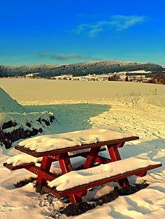 Table and bench in winter scenery. Aigen-Schlägl, Austria / Österreich