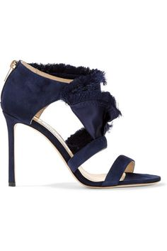 Heel measures approximately 100mm/ 4 inches Midnight-blue satin and suede Zip fastening along back Made in Italy