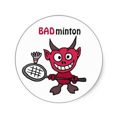 Shop XY- Devil Playing BADminton Cartoon Classic Round Sticker created by tickleyourfunnybone. Cartoon Photo, 3d Cartoon, Cartoon Characters, Sympathy For The Devil, Custom Stickers, Funny Stickers, Badminton, You Funny, Round Stickers