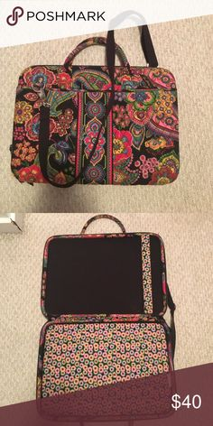 Vera Bradley Laptop Holder Beautiful printed Vera Bradley hard laptop case carrier with cross body strap. Hardly ever used! Vera Bradley Accessories Laptop Cases