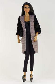 (monogram body) inc. coat, top, pants, shoes, purse.