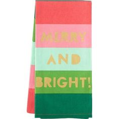 "Bold, colorful stripes decorate these cheerful tea towels and with gold lettering you're sure to set a terrific table!<br><br>Size - 20"" x 28"""