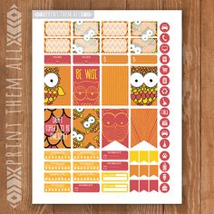 Fall OWL Planner Stickers Printable HAPPY by PrintThemAllStudio