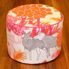 Pink and Orange Moose Print Pouf / Floor Pilow by SiempreByKatie, $40.00