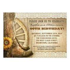 country cowboy style birthday invitations