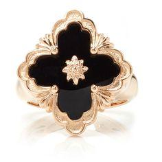 Buccellati     Opera Onyx Ring ($3,000) ❤ liked on Polyvore featuring jewelry, rings, black, buccellati jewelry, onyx jewelry, floral ring, buccellati rings and floral jewelry