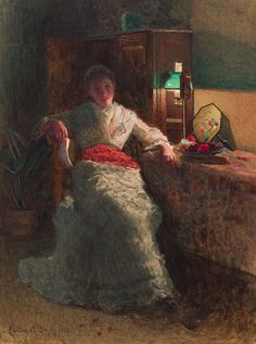 Carlton Alfred Smith (1853-1946) - The Letter, Lamplight, 1885