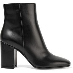 Gianvito Rossi Leather ankle boots ($860) ❤ liked on Polyvore featuring shoes, boots, ankle booties, botas, ankle boots, black ankle booties, high heel bootie, black mid calf boots and black leather ankle booties