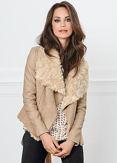 Shearling Waterfall Jacket - Soft faux shearling for the utmost comfort, this piece is designed with a stunning large collar feature for a sumptuous look. Layer over everyday outfitting for an instantly polished and stylish look.  #Kaleidoscope #Fashion #Style #Coats