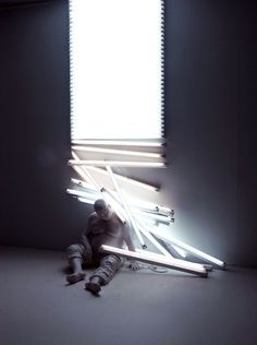 Light dream, Polyester resin and fluorescent lights, life-size figure, 2007