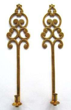"Vintage Mid Century Modern Tall 21"" Brass Hollywood Regency Scrollwork Wall Candle Holders Sconce Set of 2"