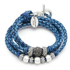 Soho wrap bracelet necklace in Round Braided Natural Blue leather, comes as shown