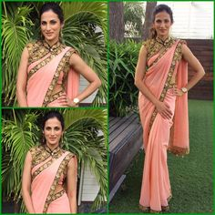 Shilpa Reddy is known to re invent the #Saree.   This time at MAA Cine Awards she was seen wearing a peach saree worn with an intricately embroidered black shrug...  She surely looked elegant, innovative, stylish and graceful.. #MAAcineawards #shilpareddy #shilpareddystudio