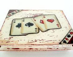 Caixa para baralho/cartões em pátina