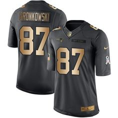 1b6cd3a66a6 Nike Patriots #87 Rob Gronkowski Black Men's Stitched NFL Limited Gold  Salute To Service Jersey