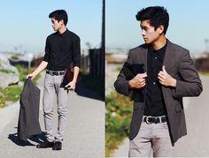 d4e4790eab1 Com/ Leather Case, H Black Dress Shirt, Neoblue Jeans Grey Pants, Three  Buttoned Charcoal Blazer, Wine Red Shoes