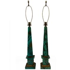 FAUX MALACHITE OBELISK TABLE LAMPS | From a unique collection of antique and modern table lamps at https://www.1stdibs.com/furniture/lighting/table-lamps/