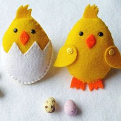 Little Felt Hen and Chick Feltie PDF Pattern and por SewJuneJones