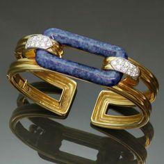 TIFFANY & CO. Lapis Lazuli Diamond & Gold vintage bangle