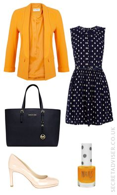 Navy dress with yellow accessories outfit idea - Stick to only a couple of yellow accessories, and keep any other colours minimal. Balance the outfit with nude shoes to keep it down-to-earth.