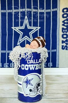 Dallas Cowboys Fan Art | Baby Dallas cowboy fan- newborn picture