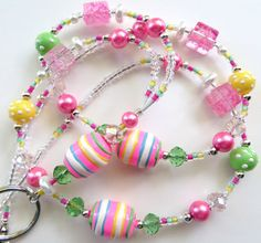 BOLD EASTER- Beaded ID Lanyard Badge Holder- Lampwork Beads, Crystals, Glass Pearls, and Tibetan Silver Beads (Magnetic Clasp)