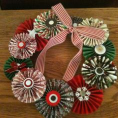 Fun paper craft Christmas wreath made with Stampin' Up scoring board and tool.