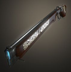 A magical type musket that uses mana capsules as ammunition. These capsules can be easily bought and/or made and the engravings on the side act as an enchantment which make the gun lighter.