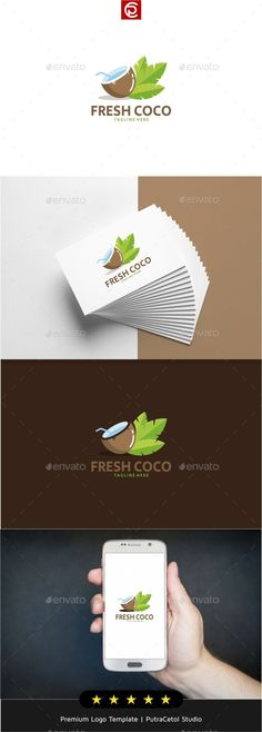 Buy Fresh Coco Water Logo by putracetol on GraphicRiver. Professional Logo Design Template, An Excellent Logo Template for your Company. Food Logo Design, Typo Design, Logo Food, Logo Design Template, Logo Templates, Icon Design, Resturant Logo, Logo Restaurant, Water Logo