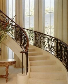 Bigelow silver inc portfolio interiors eclectic staircase. Wrought Iron Stairs, Iron Stair Railing, House Staircase, Staircase Design, Staircases, Grand Stairway, Bay Window Living Room, Modern Bungalow Exterior, Modern Country Style