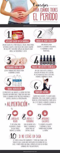 Algunos consejos para reducir el dolor menstrual. #infografias #salud #menstruacion #remedios