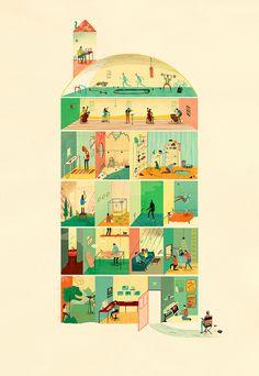 Behind the Scenes and Everything else Inbetween by Jack Hudson Illustration, via Flickr
