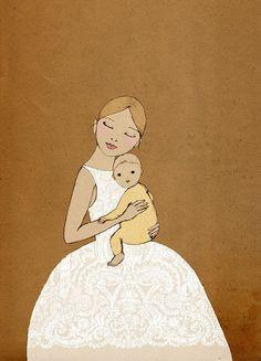 Girl with Baby art print of original drawing by IrenaSophia, $20.00