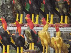 Ornamental Roosters.Pattaya,Thailand.August 2011.Rich Gedney Photography