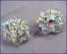 1960s MadMen Aurora Borealis AB Crystal Clip-On Earrings ~ These are the lower-end AB Crystal Clusters of the 1960s. But they still have enormous AB Rainbow Sparkle! by MarlosMarvelousFinds, $19.99