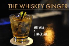 Top one or two shots of whiskey with ginger ale and garnish with a lemon twist.