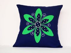 Hand embroidered Stunning Blue Cushion Cover by AddaSplashofColour