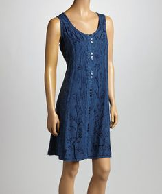Look what I found on #zulily! Navy Floral Embroidered Sleeveless Dress by Shabri Fashions #zulilyfinds