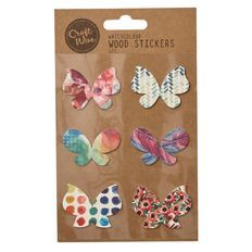 Craftwise Watercolour Wood Stickers Butterfly 6 Piece