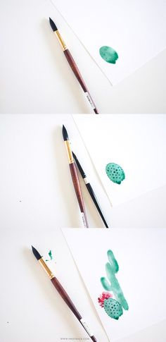 WATERCOLOR CACTUS PAINTING TUTORIAL ilustração illustration watercolor aquarela drawing desenho sketch sketchbook artwork