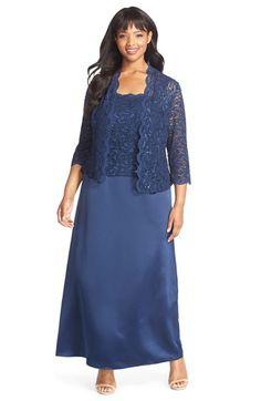 de5b762fe190d Alex Evenings Scallop Lace Gown   Jacket (Plus Size)
