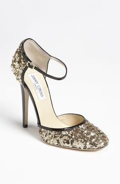 With an old pair of pumps, I'm thinking I can make a DIY pair! Minus the ankle strap!  Jimmy Choo 'Sequins' Mary Jane Pump | Nordstrom