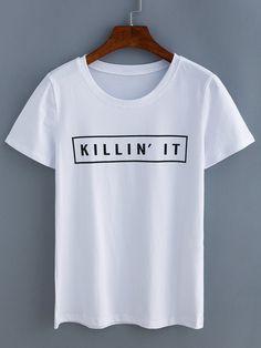 White Letters Print T-Shirt
