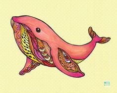 Whale art, ocean theme, wall décor, nursery décor, surfer art, Hawaii, beach art, approximately 5x7, yellow pink, baby modern on Etsy, $9.50