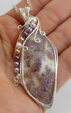 Lilac and White Lepidolite Wire Wrapped Pendant with by maryolczyk, $47.00