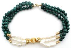 "14k Gold Pearl Malachite Bracelet Bead Vintage 7 5"" Green Gemstone Freshwater   eBay"